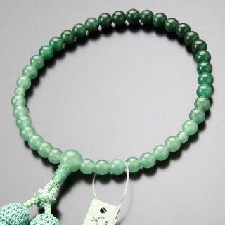 数珠 女性用 約7ミリ 印度翡翠 グラデーション 正絹2色房 102070006 送料無料