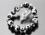 約16ミリ・12ミリ 龍彫(銀色) ブラックオニキス ブレス【数珠】【送料無料】