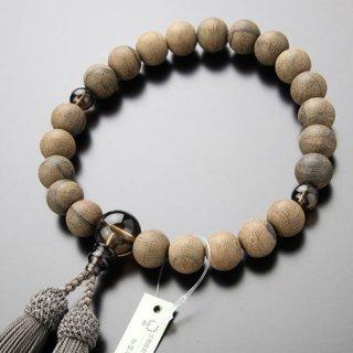 数珠 男性用 22玉 シャム柿(素引き)茶水晶 正絹房 101220022