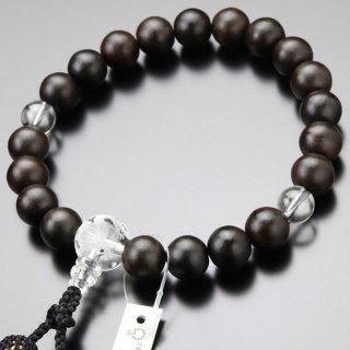 数珠 男性用 20玉 縞黒檀(艶消し)龍彫り入り水晶 正絹房 101200052 送料無料
