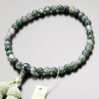 数珠 女性用 約7ミリ 青苔瑪瑙 正絹房 102070040 送料無料