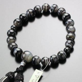 数珠 男性用 20玉 黒縞瑪瑙 正絹2色房 101200059 送料無料