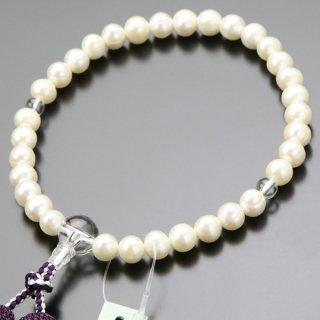 数珠 女性用 淡水パール(白系)本水晶 正絹房 102000129 送料無料