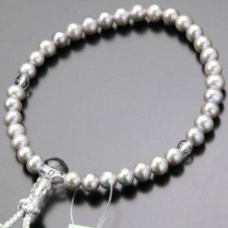 数珠 女性用 淡水パール(グレー系)本水晶 正絹2色房 102000128 送料無料