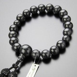 数珠 男性用 18玉 黒ビルマ翡翠 正絹2色房(4匁)【略式数珠/】【送料無料】