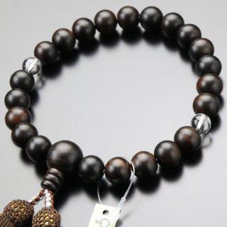 数珠 男性用 22玉 縞黒檀 2天 本水晶 正絹房 101220167