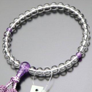 数珠 女性用 約8ミリ 本水晶 ローズアメジスト 正絹2色房 102080012 送料無料