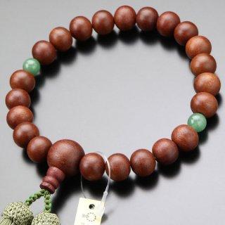 数珠 男性用 22玉 紫檀 2天 印度翡翠 正絹房 101220170