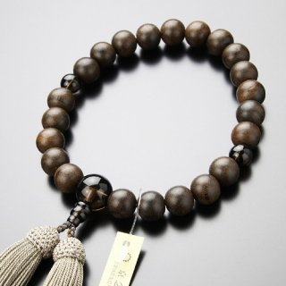 数珠 男性用 22玉 シャム柿(艶消し)茶水晶 正絹房 101220159