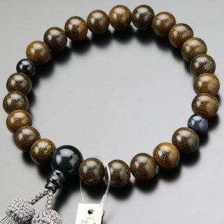 数珠 男性用 22玉 鉄刀木(艶有り)青虎目石 正絹房 101220158