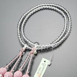 八宗派兼用 数珠 女性用 8寸 本水晶 正絹2色房(灰桜色)102880009 送料無料