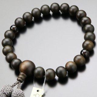 数珠 男性用 22玉 縞黒檀 2天 茶水晶 正絹房 101220166