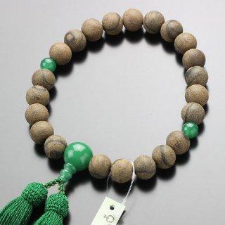 数珠 男性用 22玉 シャム柿(素引き)印度翡翠 正絹房 101220048