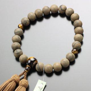 数珠 男性用 22玉 シャム柿(素引き)虎目石 正絹房 101220020