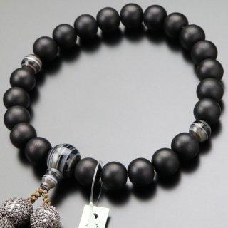数珠 男性用 22玉 黒檀(艶消し)黒縞瑪瑙 正絹房 101220157