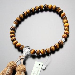 数珠 女性用 約8ミリ 虎目石 カット水晶 正絹2色房 102080128 送料無料