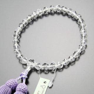数珠 女性用 切子 本水晶 正絹房(藤色)102000019 送料無料