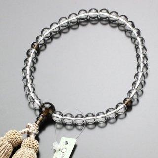 数珠 女性用 約8ミリ 本水晶 茶水晶 正絹房 102080018 送料無料