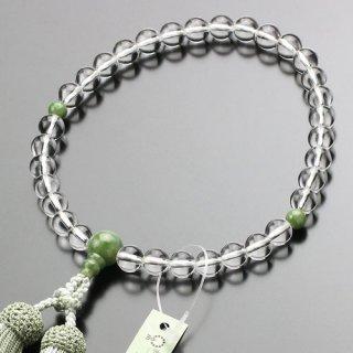 数珠 女性用 約8ミリ 本水晶 独山玉 正絹房 102080027 送料無料