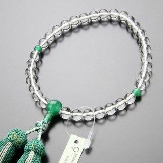 数珠 女性用 約8ミリ 本水晶 印度翡翠 正絹2色房 102080010 送料無料