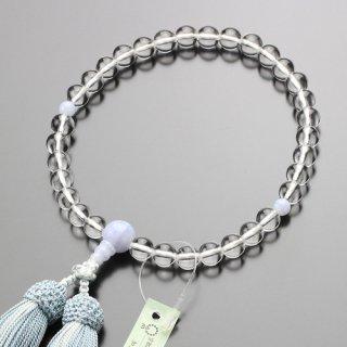 数珠 女性用 約8ミリ 本水晶 ブルーレース 正絹頭付房 102080016 送料無料