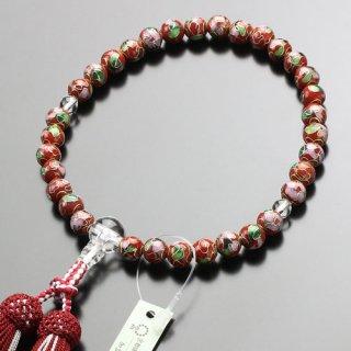 数珠 女性用 約8ミリ 七宝焼(赤)本水晶 正絹2色房 102080004 送料無料