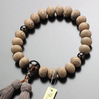 数珠 男性用 22玉 みかん珠 鉄刀木 茶水晶 正絹房 101220028 送料無料