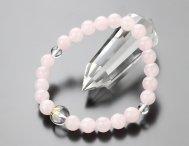 ◆特価◆守り本尊梵字(10ミリ・本水晶) 8ミリ ローズクォーツ 腕輪念珠【107080251】