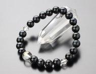 ◆特価◆守り本尊梵字(10ミリ・本水晶) 8ミリ 青虎目石 腕輪念珠【107080249】