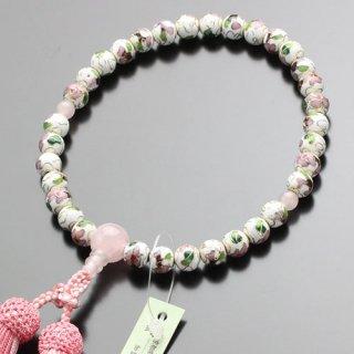 数珠 女性用  約8ミリ 七宝焼(白)ローズクォーツ 正絹2色房 102080009 送料無料
