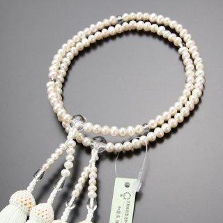 八宗派兼用 数珠 女性用 8寸 淡水パール 本水晶 正絹房 102880020 送料無料