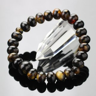 数珠ブレスレット 約7.5×10ミリ みかん玉 虎琥珀 107000030 送料無料