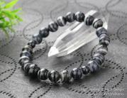 ◆特価◆8ミリ 黒縞瑪瑙 腕輪念珠【107080024】【数珠ブレス】