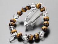 勾玉 水晶 10ミリ 虎目石  本水晶 ブレスレット【数珠】【パワーストーン】【タイガーアイ】
