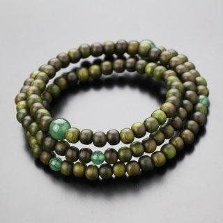 数珠ブレスレット 108玉 3重 緑檀 印度翡翠 107000264