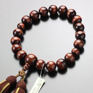 数珠 男性用 18玉 上質 赤虎目石 正絹房(4匁) 101180068 送料無料