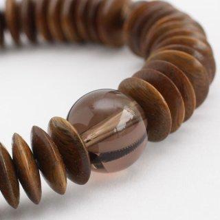 数珠ブレスレット 54玉 平玉 緑檀 茶水晶 107000004