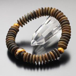 数珠ブレスレット 54玉 平玉 緑檀 虎目石 107000005