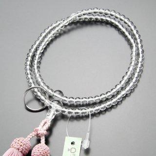 曹洞宗 数珠 女性用 8寸 本水晶 本銀輪 正絹房(灰桜色)102440005 送料無料