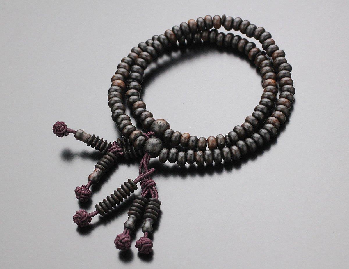 108玉 日蓮宗 縞黒檀(艶消し) 数珠ブレスレット【腕輪念珠/しまこくたん/法華】