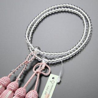 浄土真宗 数珠 女性用 8寸 本水晶 正絹2色房(灰桜/白ライン)102780011 送料無料