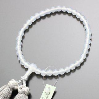 数珠 女性用 約7ミリ 白瑪瑙 銀花かがり房 102070132 送料無料