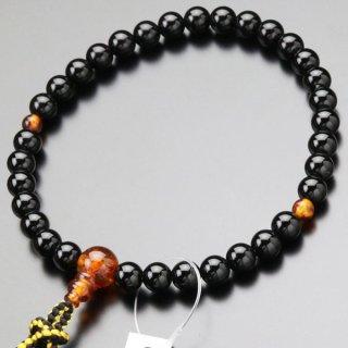 数珠 女性用 約8ミリ 黒オニキス 琥珀 正絹房 102000134 送料無料