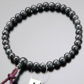 数珠 女性用 約8ミリ 黒ビルマ翡翠 正絹2色房 102080053 送料無料