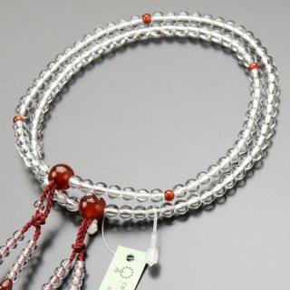 八宗派兼用 数珠 女性用 8寸 本水晶 瑪瑙 正絹2色房 102880116 送料無料