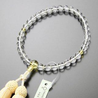 数珠 女性用 約8ミリ ミラーカット本水晶 黄水晶 正絹2色房 102080159 送料無料