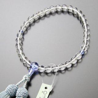 数珠 女性用 約8ミリ ミラーカット本水晶 ブルークォーツ 正絹2色房 102080160 送料無料