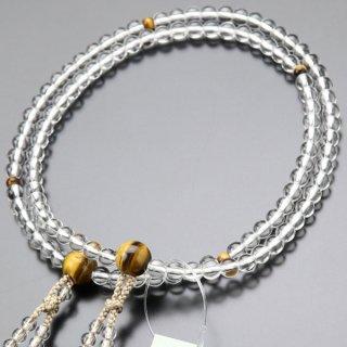 八宗派兼用 数珠 女性用 8寸 本水晶 虎目石 正絹2色房 102880117 送料無料