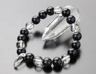 勾玉 水晶 10ミリ 青虎目石  本水晶 ブレスレット【数珠】【パワーストーン】【ホークスアイ】【天然石】