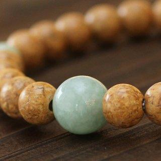 数珠ブレスレット 約7×7.5ミリ 天竺菩提樹 ビルマ翡翠 107080268 送料無料